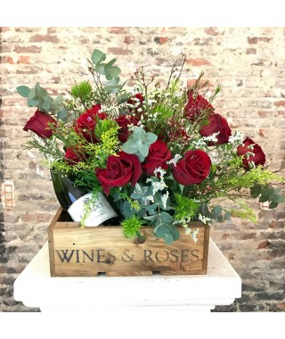 Flower Box Rosas & Champagne