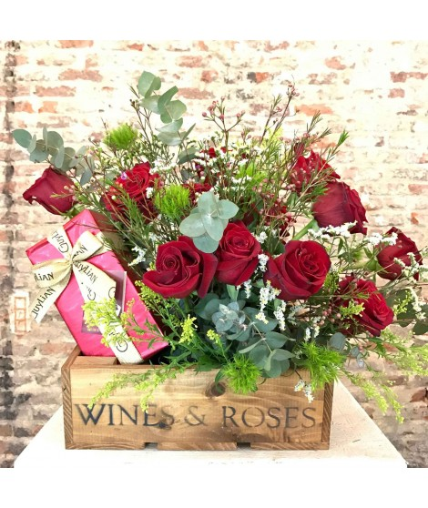 Flower Box Rosas & Chocolate