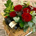 Flower Box Red & Champagne Moët Chandon